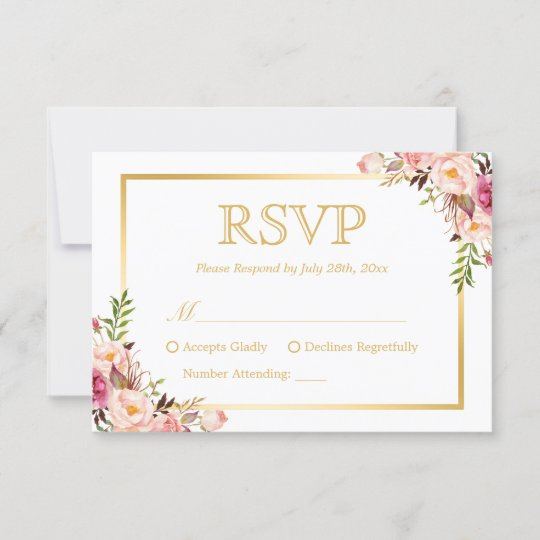Elegant Chic Gold Pink Floral Wedding RSVP Reply Zazzle
