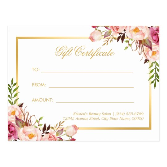 Elegant Chic Pink Floral Gold Gift Certificate Postcard Zazzle