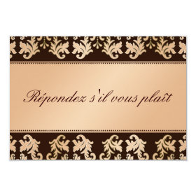 Elegant Damask Autumn Reverie Wedding RSVP 3.5x5 Paper Invitation Card