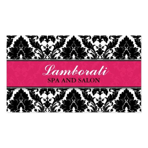 Elegant Damask Floral Pattern Pink Modern Stylish Business Card