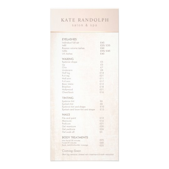 Elegant Day Spa Pink Marble Salon Price List Menu Zazzle