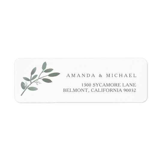 Elegant Eucalyptus Wedding Envelope Return Address Label Zazzle - Address Label