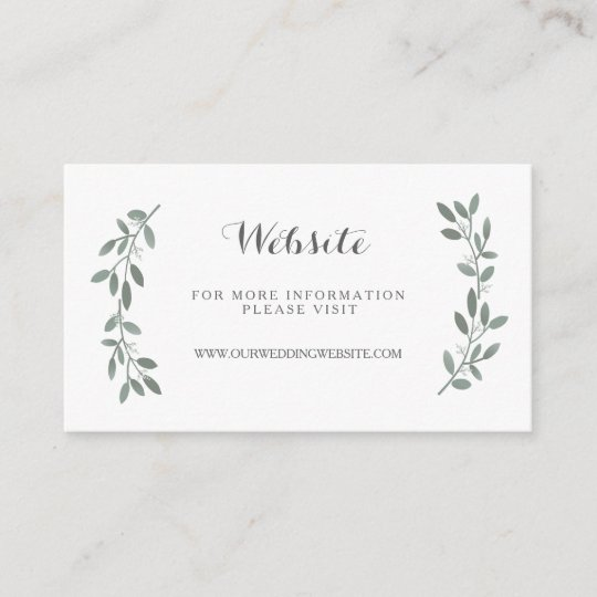 Elegant Eucalyptus Wedding Website Insert Card Zazzle