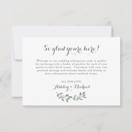 Elegant Eucalyptus Wedding Welcome Hotel Card Zazzle
