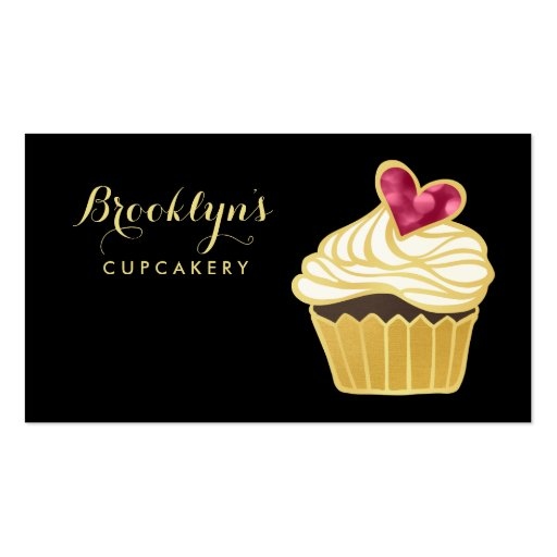 Elegant FAUX Gold Cupcakery and Pink Bokeh Heart Business Card
