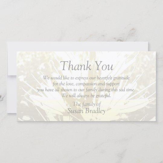 Elegant Floral Pattern Sympathy Thank you P card 2 Zazzle