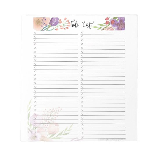 Elegant floral to do checklist notepad Template Zazzle
