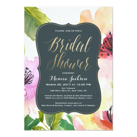 Elegant Flowers | Bridal Shower Invitation