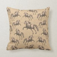 Elegant Galloping Spanish Horse Pillows