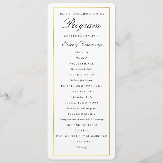Elegant Gold Border Wedding Program Template Zazzle