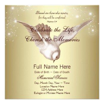 Elegant Gold Dove In Loving Memory Memorial Invitations Just Sold