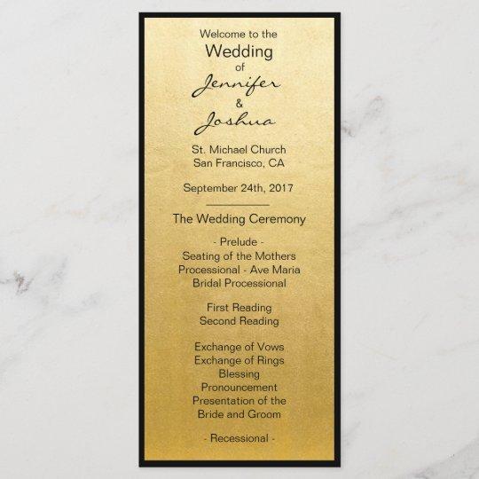 Elegant Gold Foil Black Design Wedding Programs Zazzle