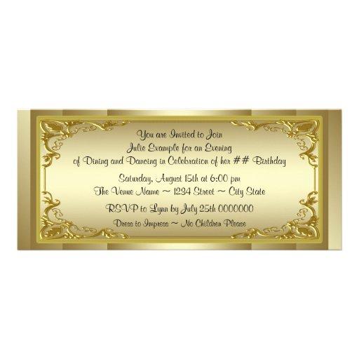 Personalized Golden Ticket Invitations CustomInvitations4U
