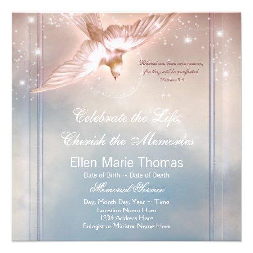 Personalized Dove Funeral Announcements Invitations