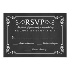 Elegant Rustic Chalkboard Wedding RSVP 3.5x5 Paper Invitation Card