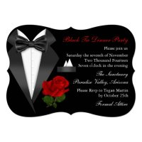 Elegant Tux & Rose Black Tie Dinner Party Invite | Zazzle.com