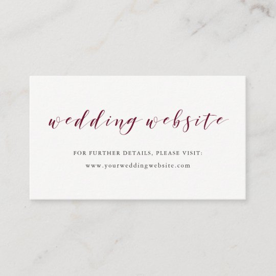 Elegant Typography Marsala Wedding Website Insert Zazzle