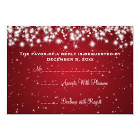 Elegant Wedding RSVP Winter Sparkle Red 3.5x5 Paper Invitation Card