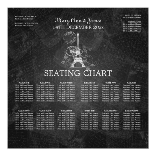 Elegant Wedding Seating Chart Paris Black Zazzle