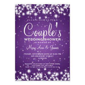 Elegant Wedding Shower Winter Sparkle Purple 5x7 Paper Invitation Card