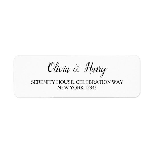 Elegant White Wedding Return Address Labels Zazzle