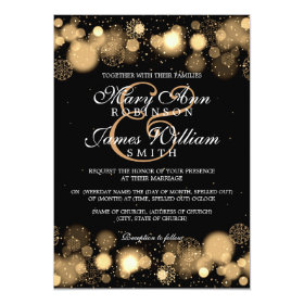 Elegant Winter Wedding Gold Lights 5x7 Paper Invitation Card
