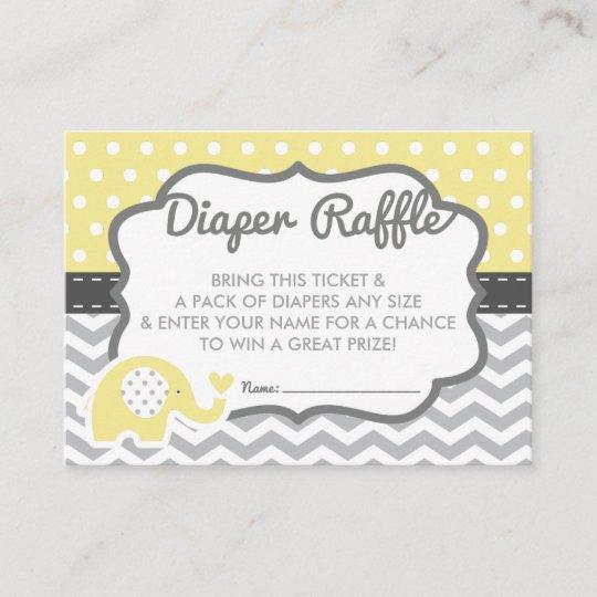 Elephant Diaper Raffle Ticket, EDITABLE COLOR Enclosure Card