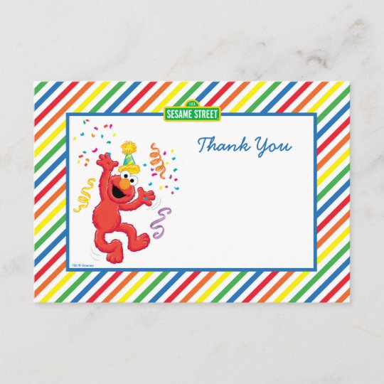 Elmo Striped Birthday Thank You Cards Zazzle