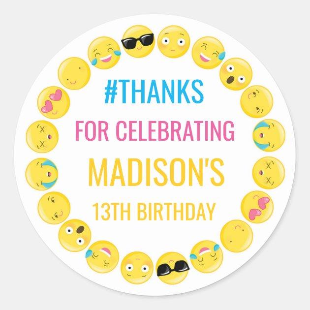 Emoji Personalized Stickers Birthday Favor Labels Zazzlecom