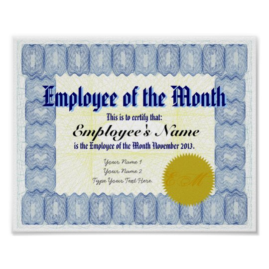 Employee of the Month Certificate Print Zazzle