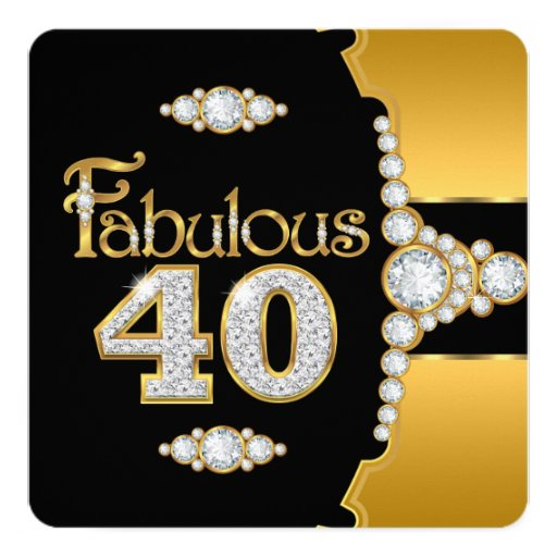 Golden 40 Fabulous 40 40th Birthday Gold Black Diamond Invitation