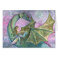 Fairy Dragon Blank Card by Molly Harrison