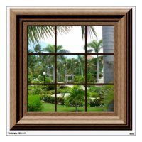Fake Window Decal Tropical Landscape Wall Mural Wall
