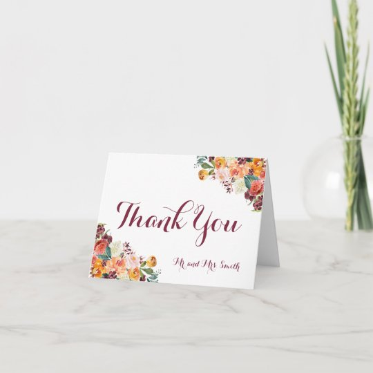 Fall Flowers Folded Thank You Cards, Orange Maroon Note Card
