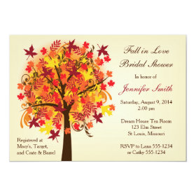 Fall In Love Bridal Shower 5x7 Paper Invitation Card