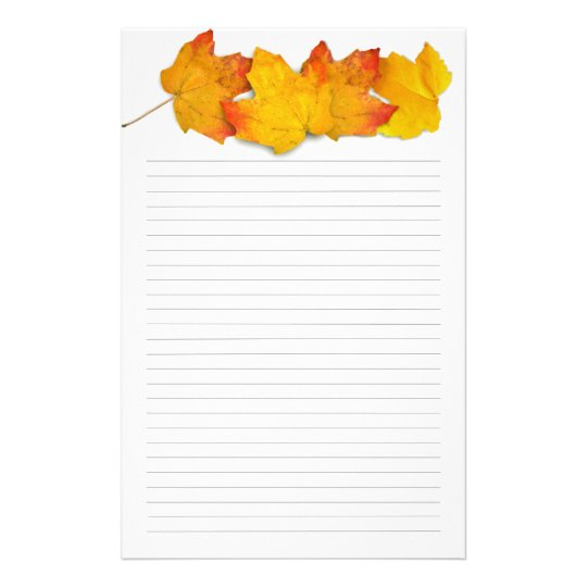 Fall Maple Leaf Border, Lined Writing Paper Zazzle