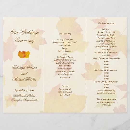Falling Leaves Tri-fold Wedding Program Template Zazzle
