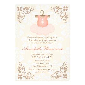 FANCY BALLERINA TUTU BIRTHDAY INVITATIONS