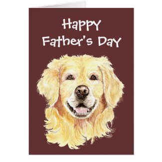Father's Day, Watercolor Golden Retriever Dog Greeting Card