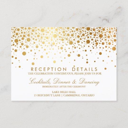 Faux Gold Foil Confetti Wedding Reception Card Zazzle