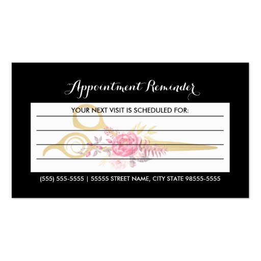 Faux Gold Scissors Pink Floral Hair Appointment Business Card