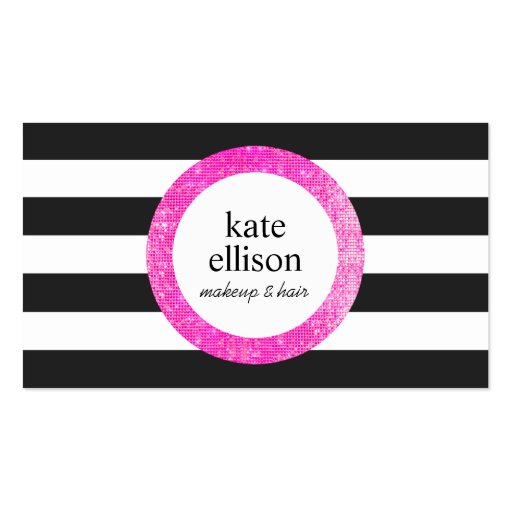 Faux Pink Sequin Black and White Striped Beauty Business Card