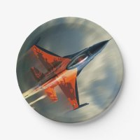 Fighter Jet Military airplane speed Paper Plate | Zazzle