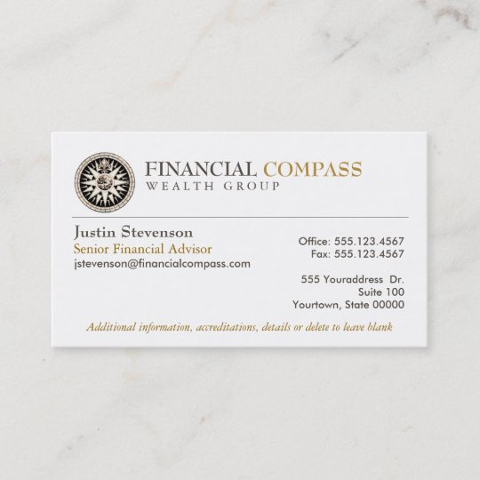 Financial Advisor Analyst Finance Compass Business Card Zazzle