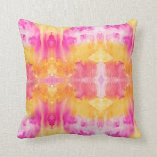 Fire-Yellow and orange squiggly watercolor pattern Throw Pillows