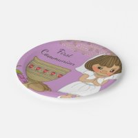 First Communion Girl in Purple Paper Plate | Zazzle