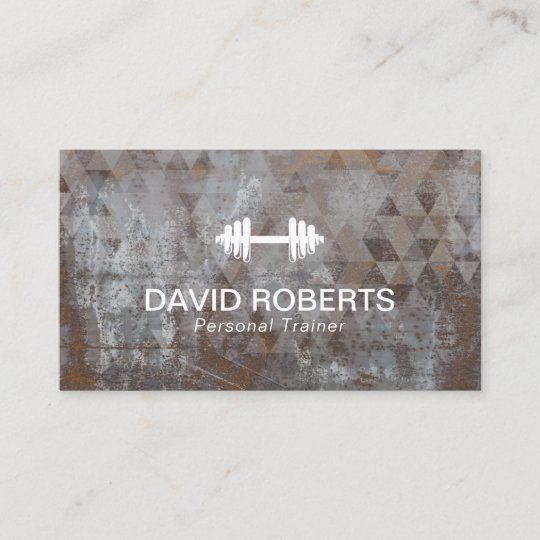 Fitness Personal Trainer Geometric Grunge Metal Business Card
