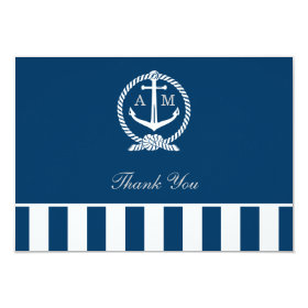 Flat Wedding Thank You Notes | Nautical Stripes 3.5x5 Paper Invitation Card