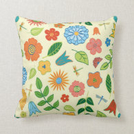 Floral and Dragonfly Patterned Pillow