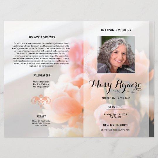 Floral Funeral Program Flyer Template Zazzle